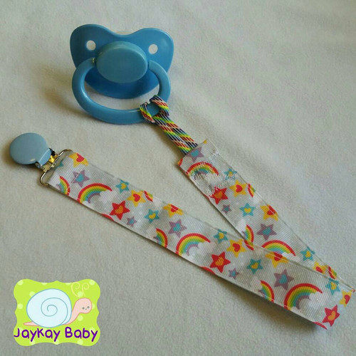 Glitter Rainbows And Stars Adult Pacifier Clip