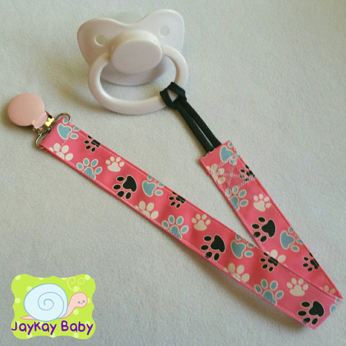 Paw Print Pink Adult Pacifier Clip