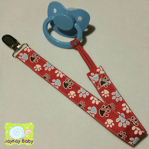 Paw Print Red Adult Pacifier Clip