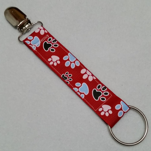 Paw Prints Red Convention Name Badge Clip