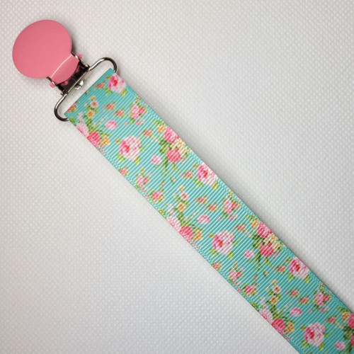 Pink Roses Adult Pacifier Clip