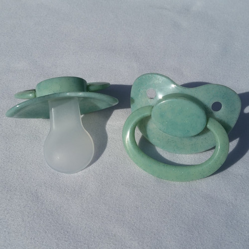Sea-Green Glitter Solid Adult Pacifier