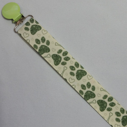 Paw Prints Green Adult Pacifier Clip