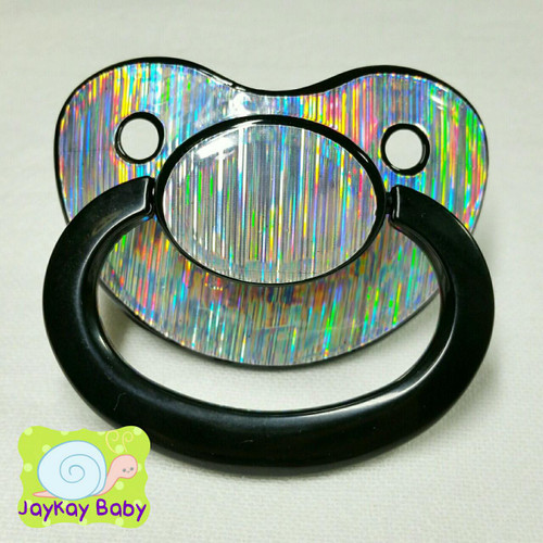 Full Silver Laser Holographic Adult Pacifier