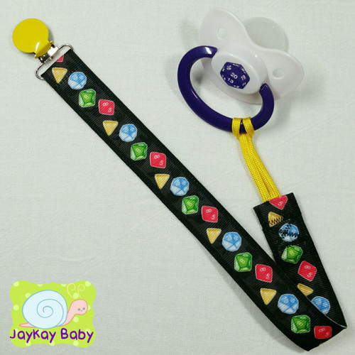Multi-sided Dice Adult Pacifier Clip