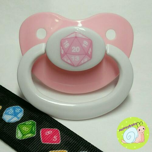 20 Sided Dice Printed Vinyl Adult Pacifier
