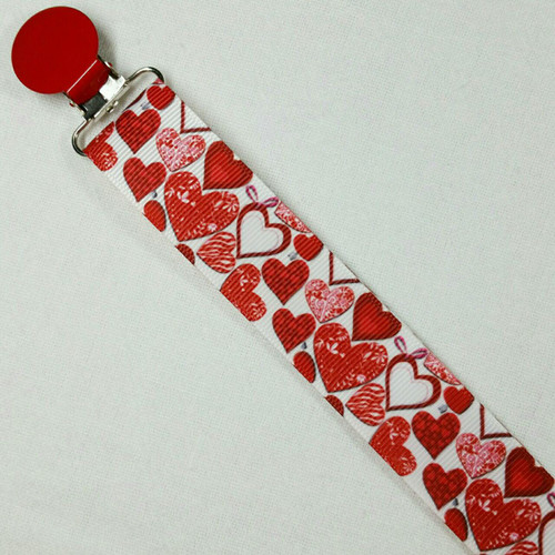 Red Hearts Adult Pacifier Clip