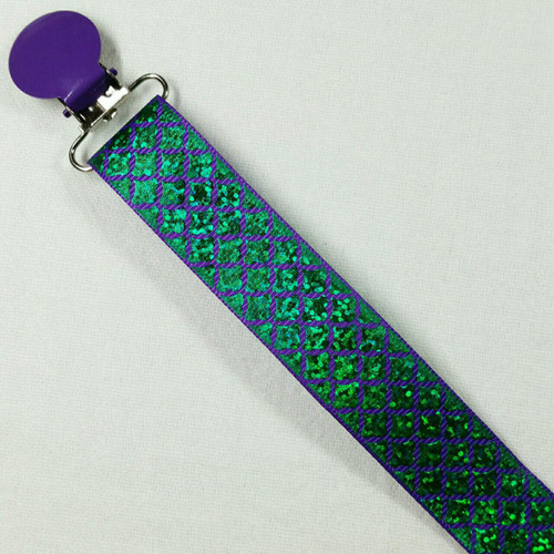 Green Glitter Scales Adult Pacifier Clip