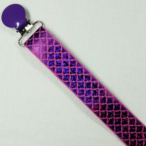 Purple-Magenta Glitter Scales Adult Pacifier Clip