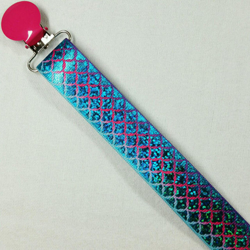 Blue-Teal Glitter Scales Adult Pacifier Clip