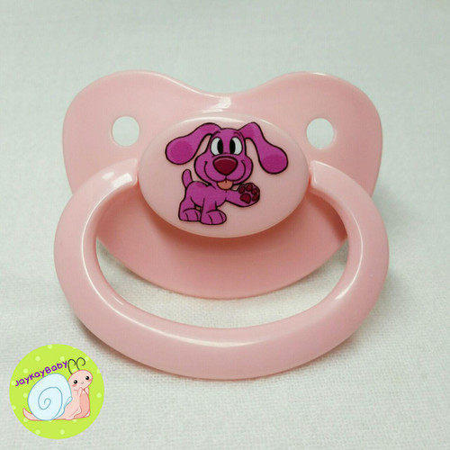Magenta Puppy Printed Vinyl Adult Pacifier