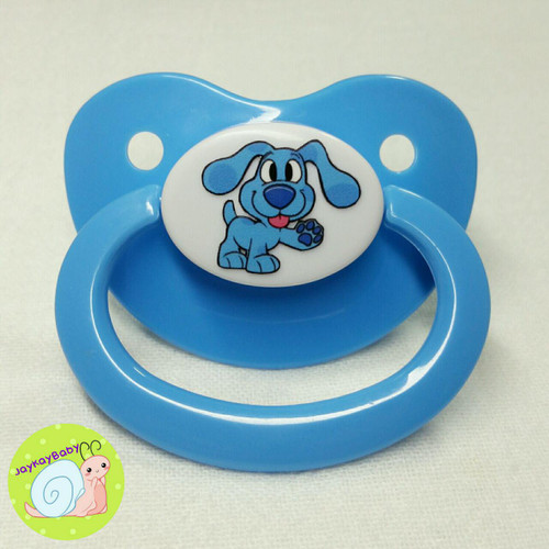 Blue Puppy Printed Vinyl Adult Pacifier