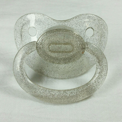 Transparent Silver Glitter Solid Adult Pacifier