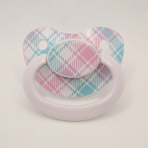 Plaid Pastel Printed Adult Pacifier