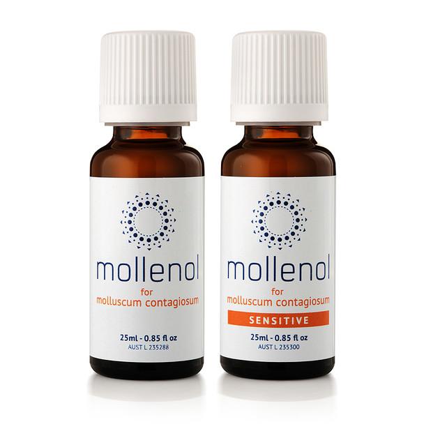 Molluscum contagiosum treatment with Mollenol 25ml and Mollenol Sensitive 25ml.