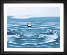 EFX Gallery fine art color changing print droplets of water hitting crystal blue water and forming concentric circles photographer Rony Michaud