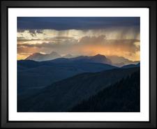 glacier national park montana MT trees forest mountains mist sunset dusk blue sunset EFX Gallery color changing giclee photographer Skeeze