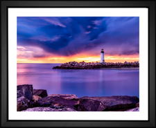 santa cruz lighthouse california CA EFX Gallery fine art print with  ocean bay water color changing sky clouds sunset dusk rocks rocky nature