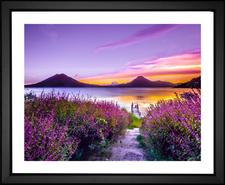 Sunset at Lake Atitlán, Guatemala EFX Gallery framed art print photographer Mark Harpur