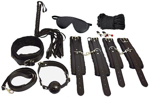 Bondage Kit - 12 Piece Everything Bondage Kit - Black - BEST SELLER!