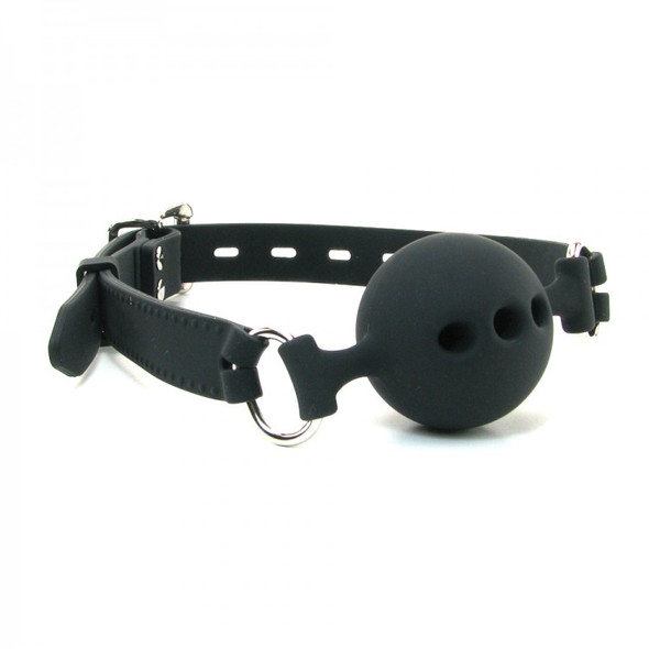 Breathable Ball Gag - Black Breathable Silicone - 3 Sizes Available