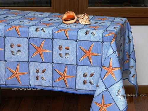 French Tablecloth Blue Sea Shells Sea Stars