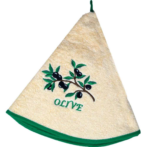 French Round Kitchen Towel with Olive branch Salmon