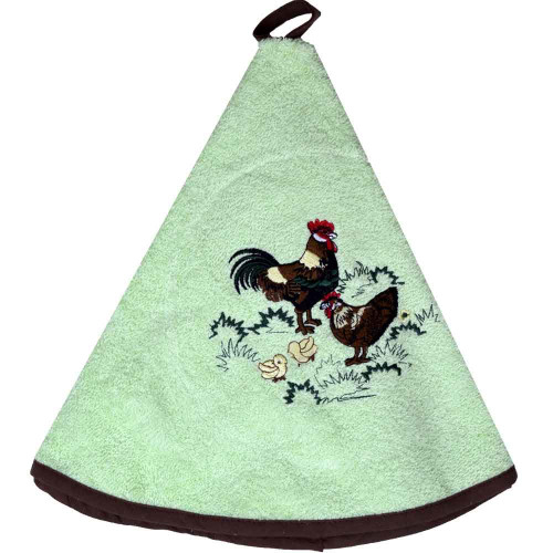 French Round Kitchen Towel with Rooster Green