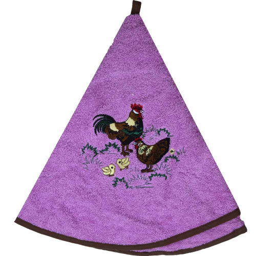 French Round Kitchen Towel with Rooster Pink