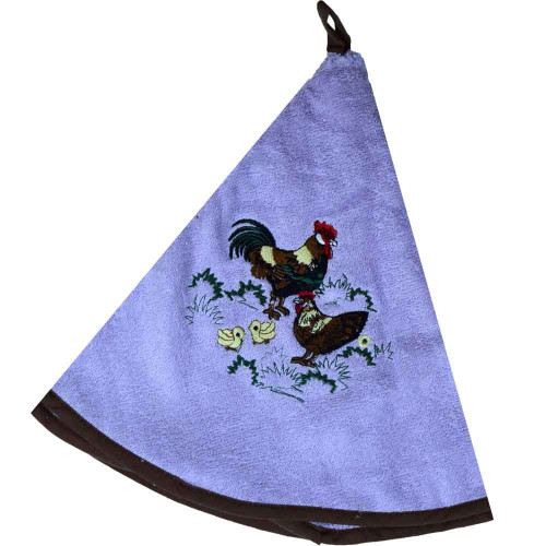 French Round Kitchen Towel with Rooster Purple