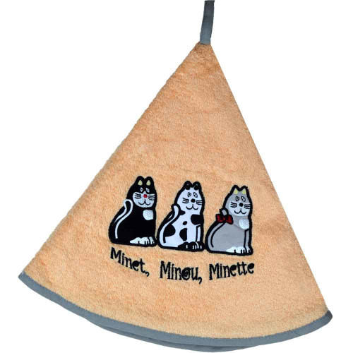 French Round Kitchen Towel with Cats Salmon