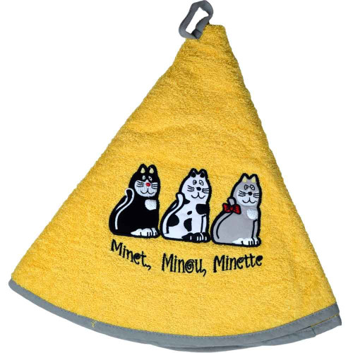 French Round Kitchen Towel with Cats Yellow