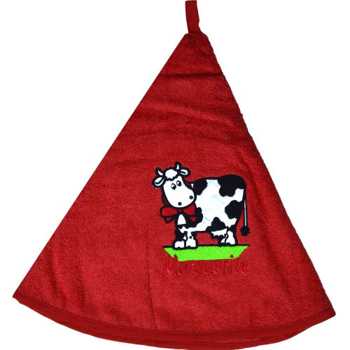 French Round Kitchen Towel with Marguerite the Cow Red