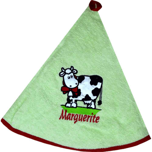 French Round Kitchen Towel with Marguerite the Cow Green