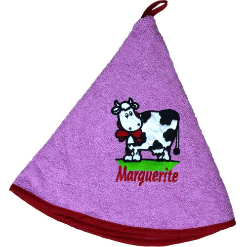 French Round Kitchen Towel with Marguerite the Cow Pink