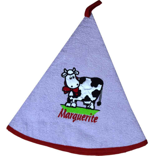 French Round Kitchen Towel with Marguerite the Cow Purple