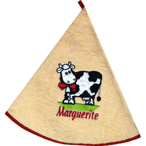French Round Kitchen Towel with Marguerite the Cow Salmon