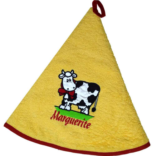 French Round Kitchen Towel with Marguerite the Cow Yellow