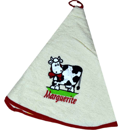 French Round Kitchen Towel with Marguerite the Cow Cream