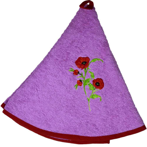 French Round Kitchen Towel with Flowers Pink