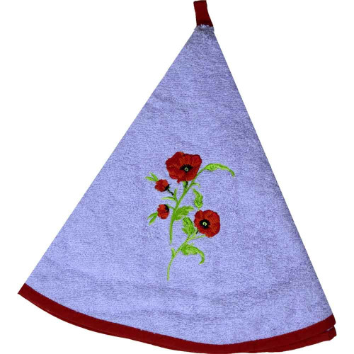 French Round Kitchen Towel with Flowers Purple