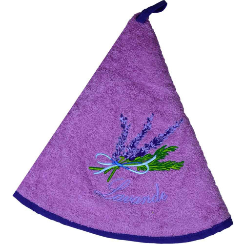French Round Kitchen Towel with Lavender Pink