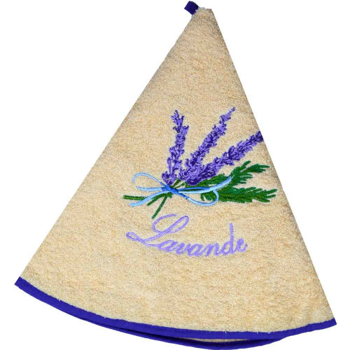 French Round Kitchen Towel with Lavender Salmon