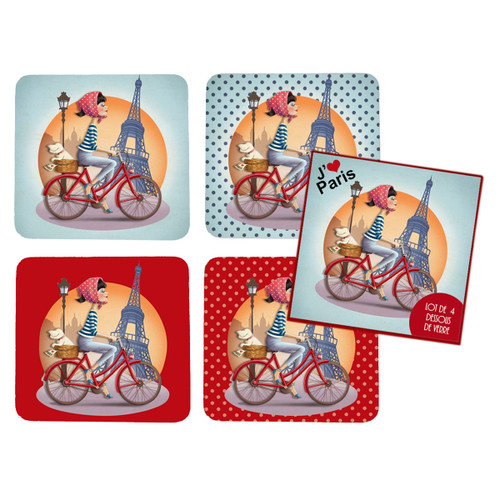 4 Coaster Set assorted Paris, Bike