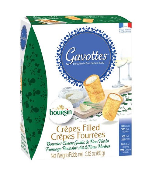 Gavottes Mini Crepes Filled with Boursin cheese garlic & fines herbs filling preparation 60g/2.12 oz