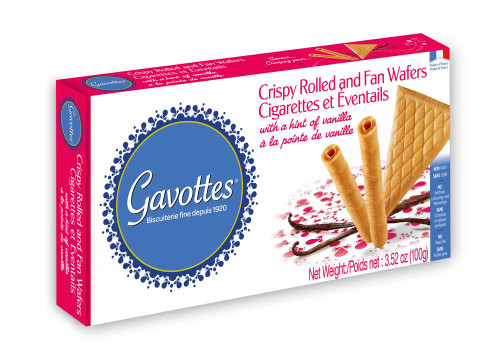 Gavottes Crispy Rolled and Fan Wafers with a Hint of Vanilla 3.52oz (100g)