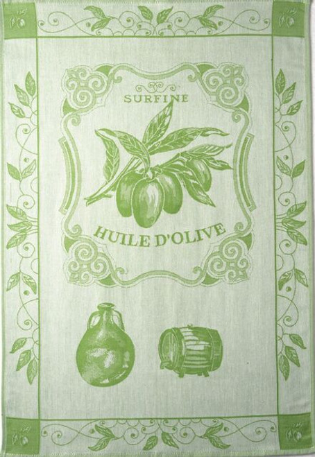 "Coucke Jacquard Kitchen Towel Huile Surfine Amande 20"" x 30"""