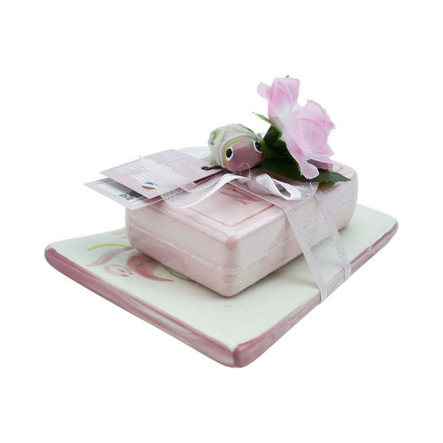Soap Marseille and Soap Holder Rectangular Rose Scent
