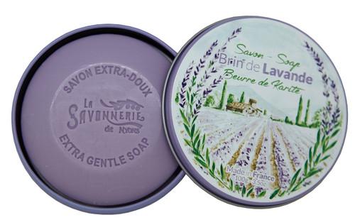 La Savonnerie de Nyons Box Round Metal Lavender Strand 3.5 oz