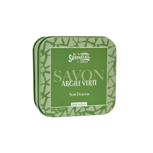 La Savonnerie de Nyons Metal Box Soap Green Clay 3.5 oz